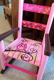 girls rocking chair pink and brown owls child rocker kids rocker custom