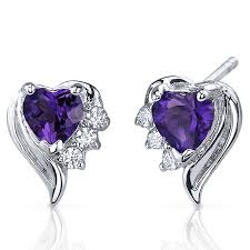heart shaped earrings amethyst earrings sterling silver heart shape cz