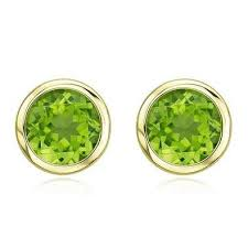 peridot earrings 18 karat yellow gold peridot stud earrings mrs jones company
