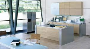 red cabinetry with panel appliances also in modern kitchen design