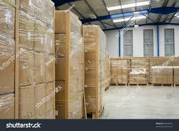 Warehouse Interior Industrial Warehouse Interior Pallets Cardboard Cartons Stock