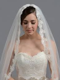 bridal veil bridal wedding veil fingertip alencon lace v036
