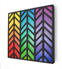 colorful chevron art made from paint swatches rainbow color