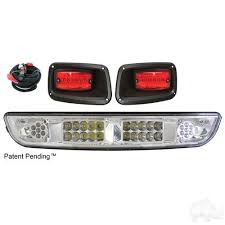 ezgo txt golf cart clear lens led light bar kit with taillights