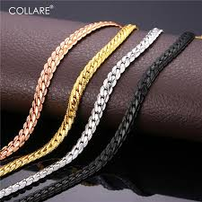 rose gold men necklace images Collare trendy men snake chain black gun rose gold gold silver jpg