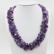 purple crystal stone necklace images Irregular beads natural purple crystal stone rows necklace chain jpg