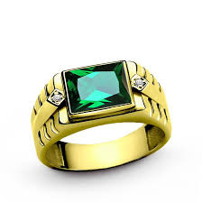 emerald gemstone rings images Men 39 s diamond ring in 10k yellow gold with green emerald gemstone jpg