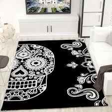 jugendzimmer teppich jugendzimmer teppich modern schwarz weiß kunstvoll totenkopf motiv