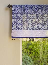 Beaded Window Curtains Blue Floral Sheer Fabric Beaded Window Valance Kitchen Bathroom