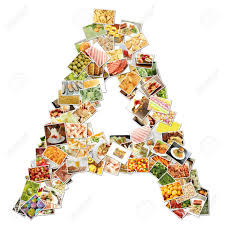 letter a with food collage concept art stock photo picture and
