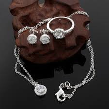 silver pendant necklace set images Fashion wedding engagement jewelry sets silver pendant necklace jpg