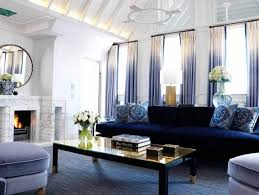 living room with dyed curtains and navy sofa costumize your