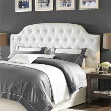 Dorel Living Dorel Living Lyric Button Tufted Faux Leather King - White faux leather bedroom furniture