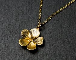 flower necklace etsy images Gold flower necklace etsy jpg