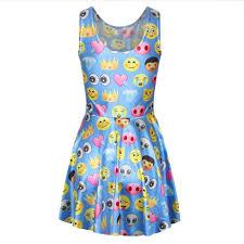 emoji robe adogirl vente chaude mignon femmes robes d été bleu emoji expression