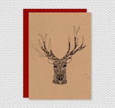 kraft christmas cards hand drawn illustrated reindeer kraft