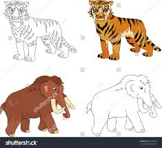 cartoon mammoth sabertoothed tiger educational game stock vector