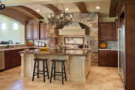 kitchen island cabinets base double oven gas range tile countertop