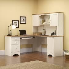 home design unstained teak wood corner laptop desk with several