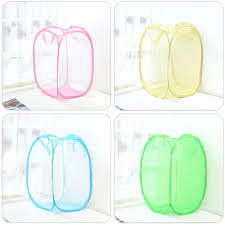 laundry hamper collapsible colorful net grid collapsible clothing care laundry basket bag