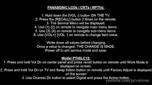 how to access service menu in panasonic tv youtube