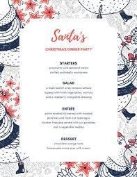 Festive Dinner Party Menu - blue orange holiday illustration dinner party menu templates by