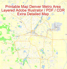 map us denver map denver printable vector detailed city plan illustrator editable
