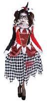 scary harlequin clown halloween fancy dress costume