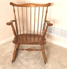 Rocking Chair Miami Short Vintage Spindle Back Oak Rocking Chair Ebth