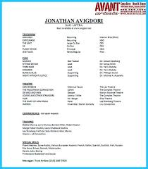 72 actor resume templates cover letter audition resume
