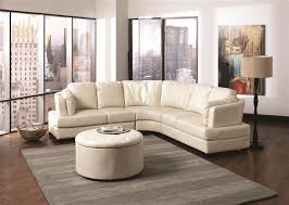 5 piece storage ottoman in cream leather like upholstery by