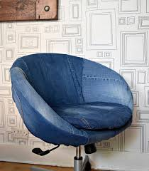 Denim Home Decor Great Transformation Of An Ikea Skruvsta Chair Using Old Jeans