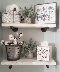 Decorate Bathroom Shelves Farmhouse Bathroom Decor Bathroom Pinterest House Bath And
