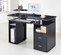 Glass Topped Computer Desk Office Black Glass Top Computer Pc Desk Table With Retractable