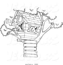 vector of a cartoon pirate boy in his tree house black and white