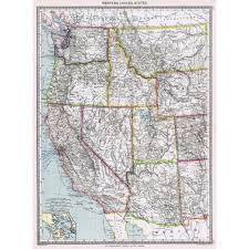 Map Of Western United States Antique Map 1906 Western United States Of America Harmsworth