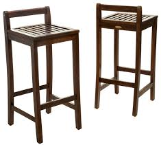 Bar Stool Sets Of 2 Simple Lines Wooden Bar Stools Set Of 2 Transitional Outdoor