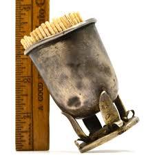 antique sterling silver toothpick holder handmade signed 61 5
