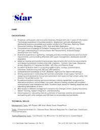 fascinating resume summary statement for business analyst also