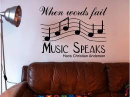 words fail music speaks wall art quote sticker vinyl bedroom