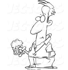cartoon beer vector of a cartoon pensive man holding a beer coloring page