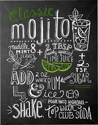 tableau craie cuisine tableau recette cocktail mojito cuisine ardoise tableau à craie