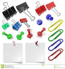 stationery set of staples and drawing pins stock photos
