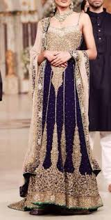 blue and gold indian bridal dress indian weddings trousseau by