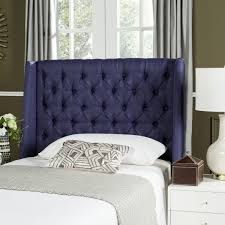 london navy linen tufted winged headboard flat nail heads