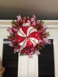 peppermint ornament wreath battery operated light up created by