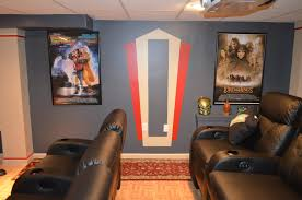 home theater decoration dim lighting illuminate red home theater with cozy black seatcraft