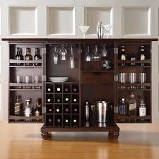 Laminate Floor Door Bars Furniture Dark Brown Wooden Liquor Cabinet With Double Door