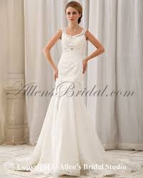 wedding dresses with straps allens bridal satin and lace straps chapel mermaid wedding