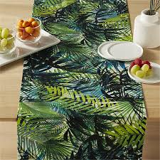 riviera tropical leaf table runner cb2
